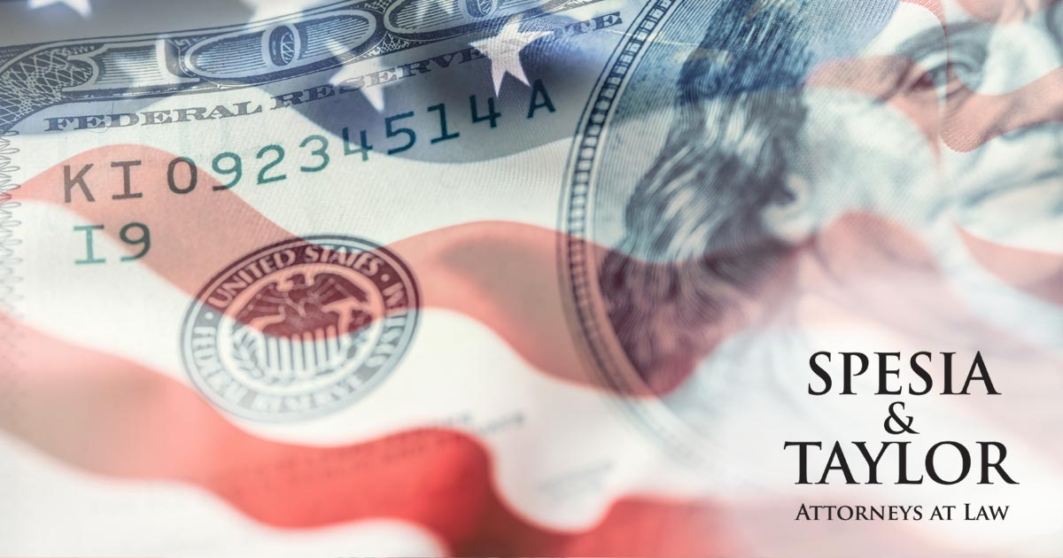 American flag with financial symbols